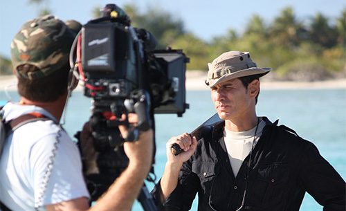 Mykel Hawke on the Set in Aitutaki